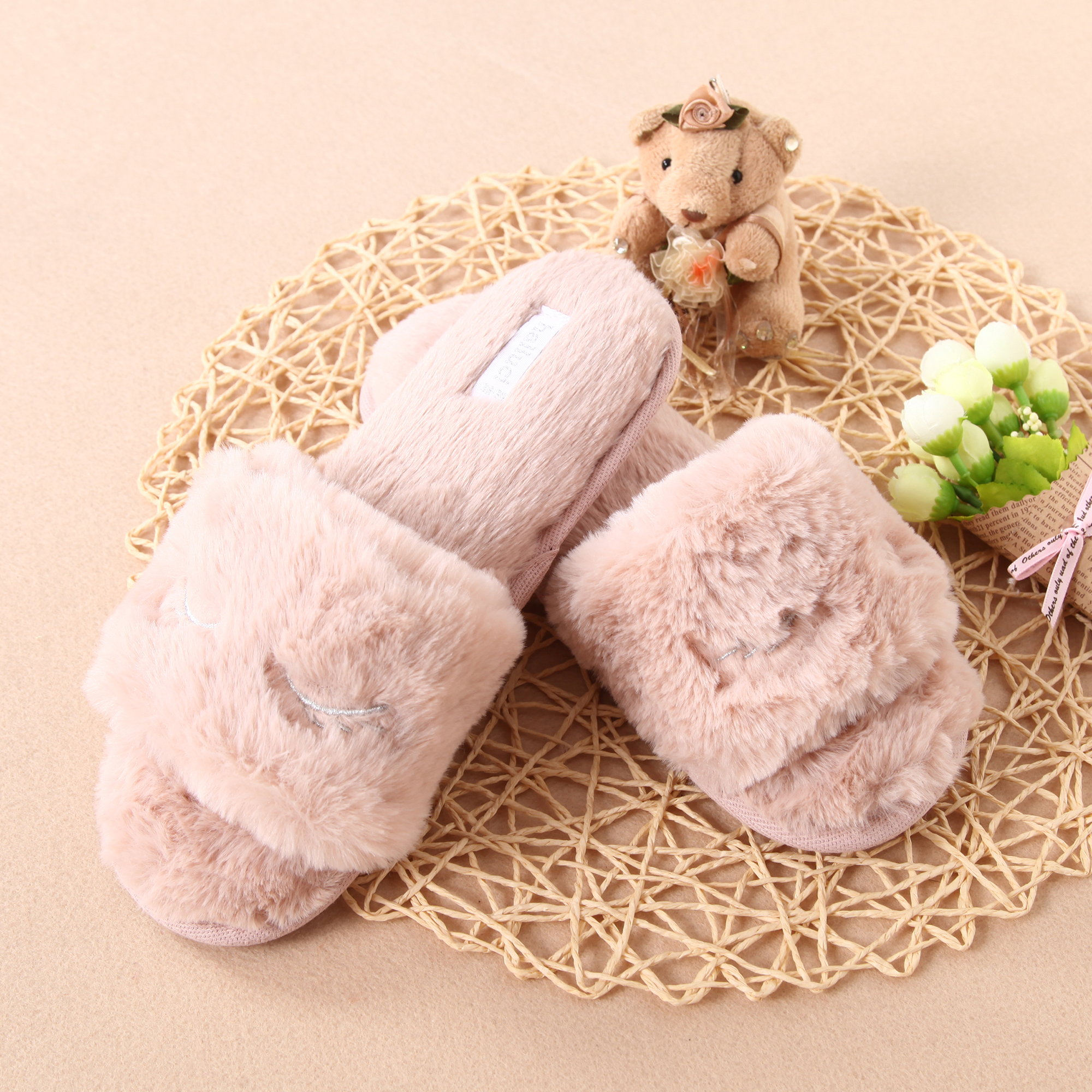 Plush Eyes Embroidery House Slippers