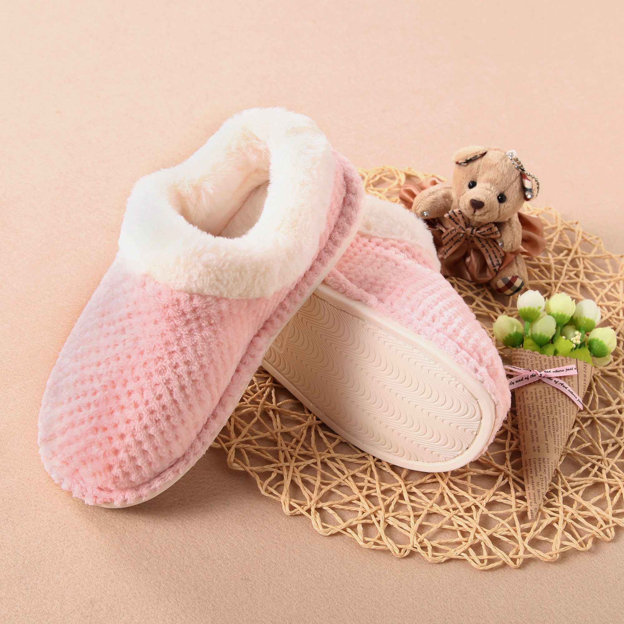 Gridding Coral With Plush lining Slippers