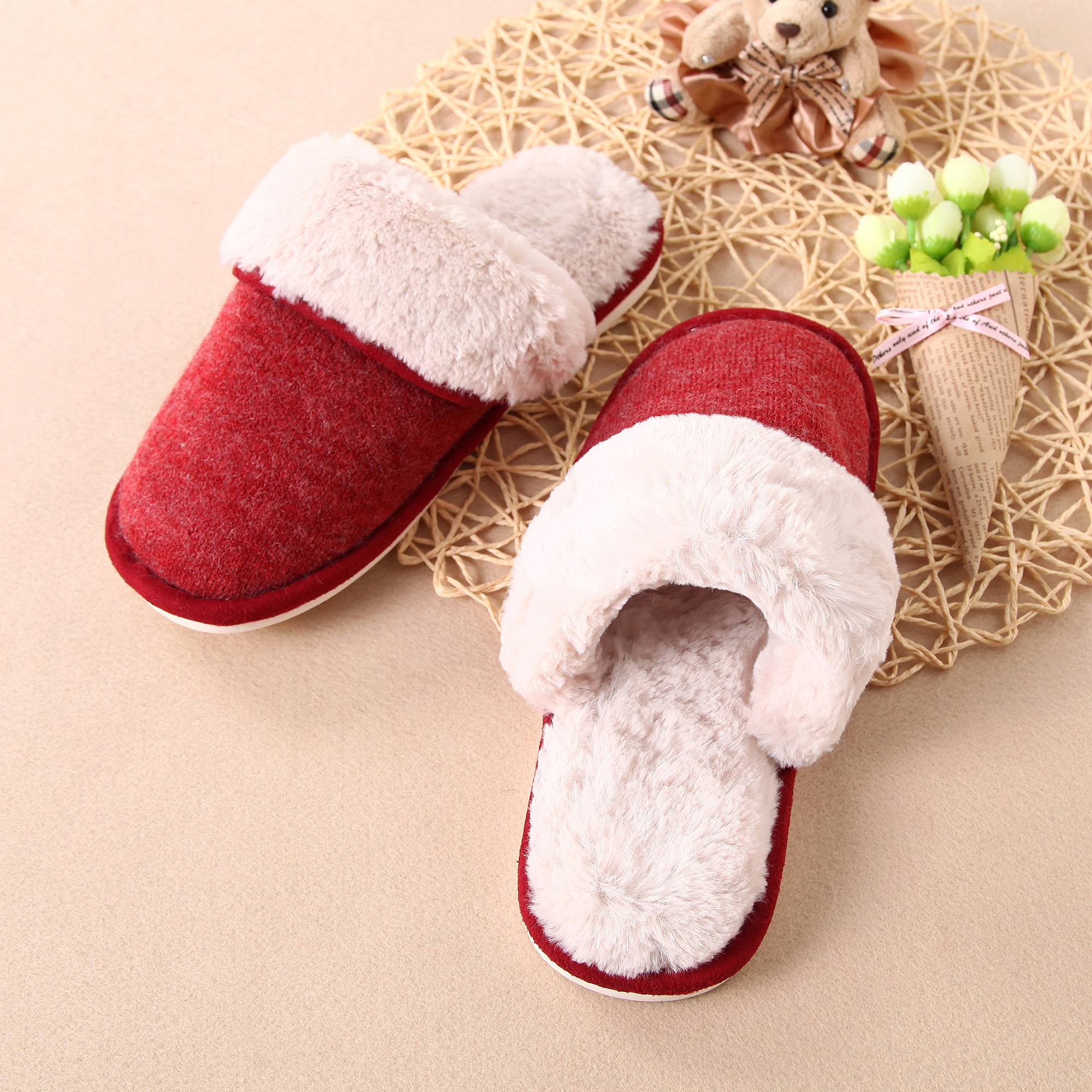 Warm Hand-Woven Yarn Home Bedroom Slippers