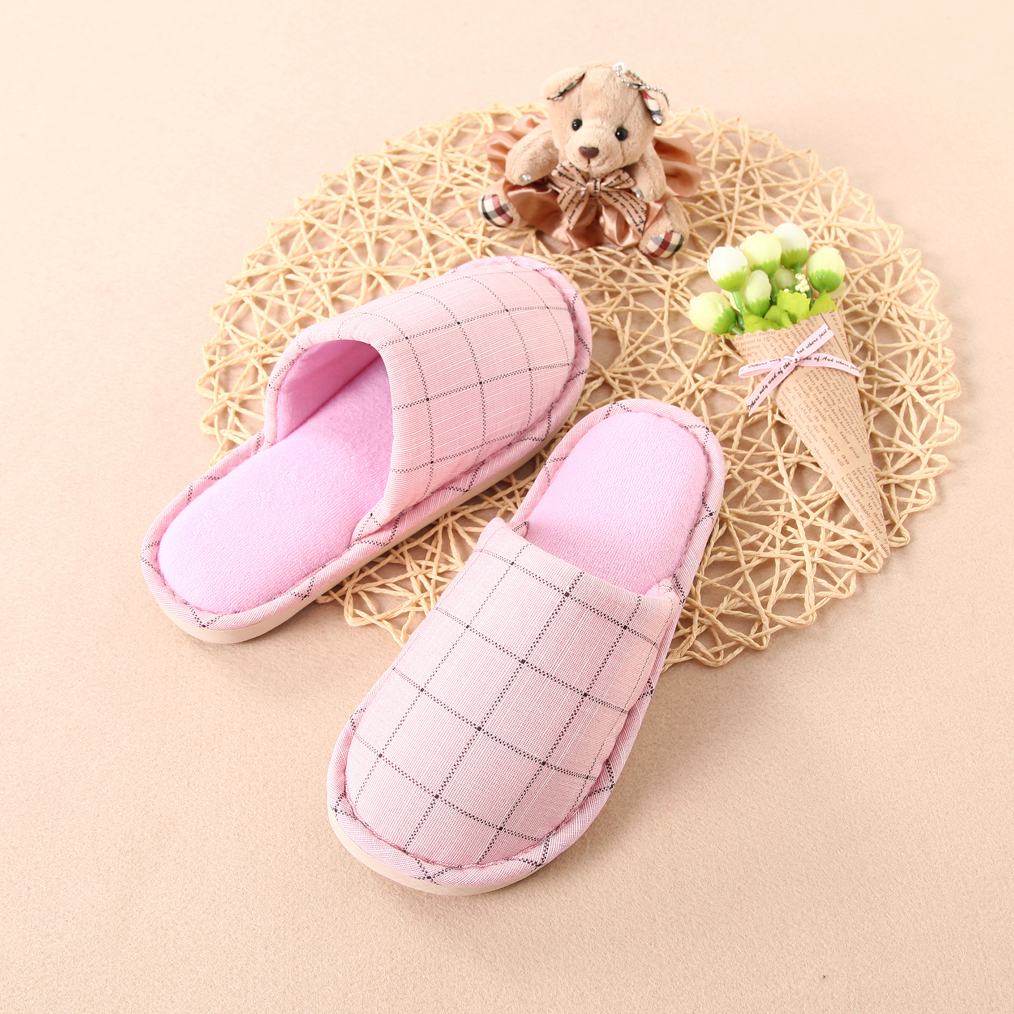 Non-slip Stripe Cotton Slippers