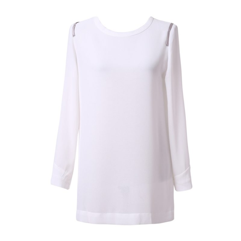 Long Sleeve Chiffon Blouse Uni Size for S