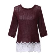 Pullover Sweater with Lace Bottom Uni Size for S