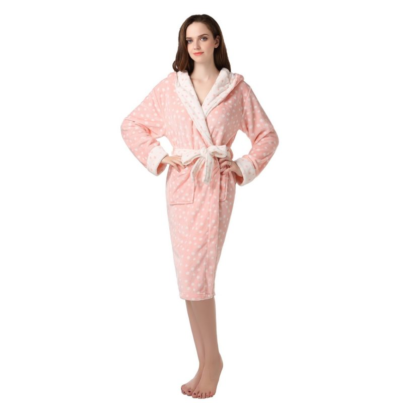 Polka Dot Coral Fleece Robe