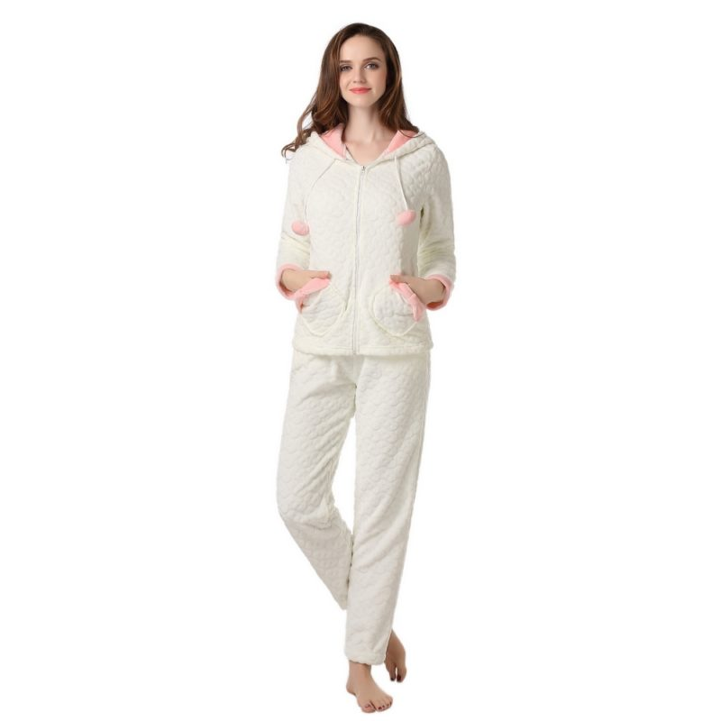 Warm Robe Set with Pants Uni Size for XS-S