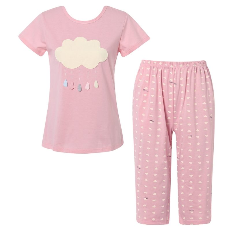 Knit Cotton Two-piece Pajamas