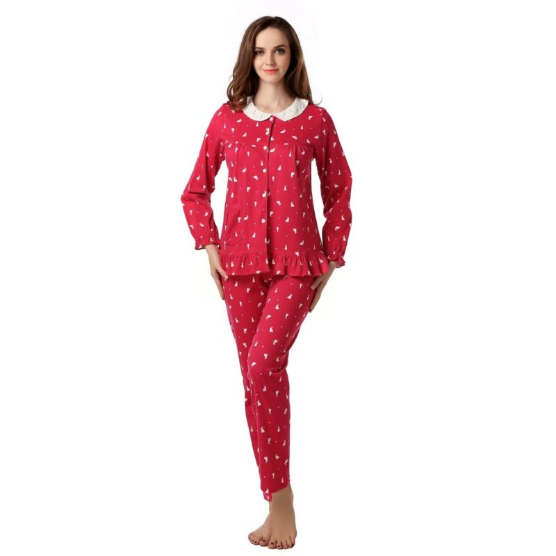 Knit Cotton Two-piece Pajama Sleepwear
