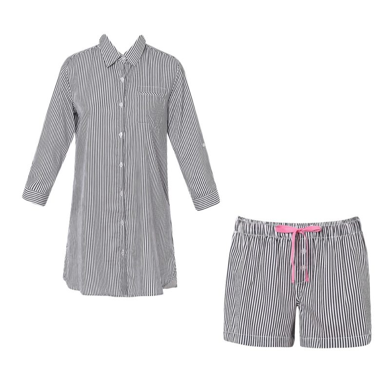 Cotton Striped Boyfriend Shirt Pajama Sleepwear Set