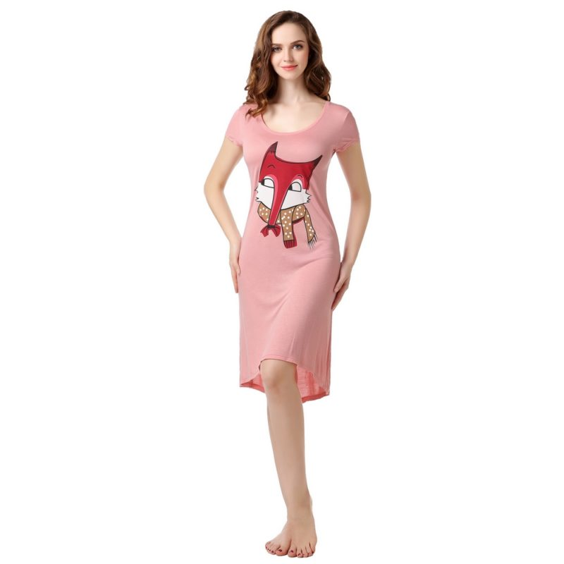 Summer Knit Dress Pajama Sleepwear with Fox