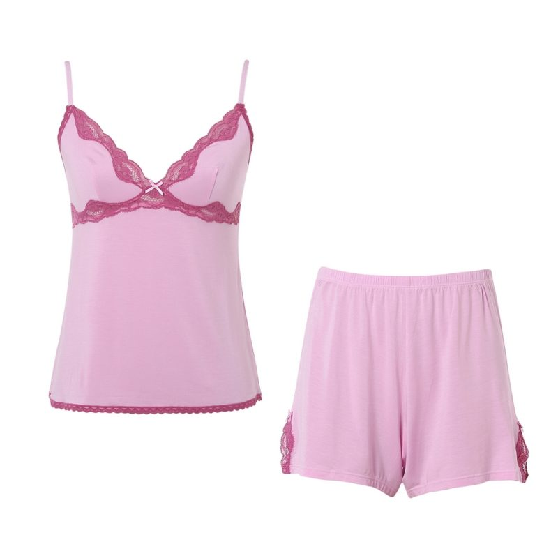 Summer Knit Pajama Sleepwear Set with Shorts