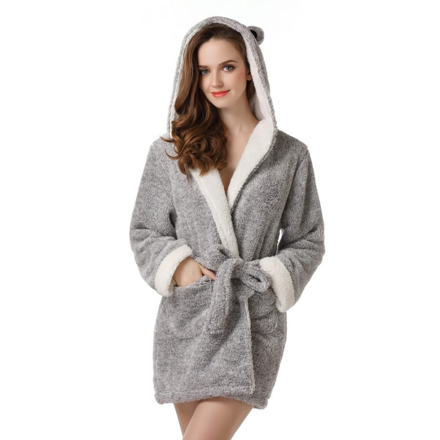 Bathrobe Robe with Two Ears Uni Size for S