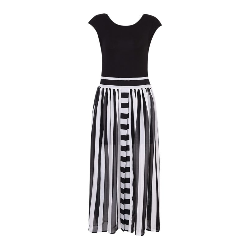Long Dress with Chiffon Striped Bottom