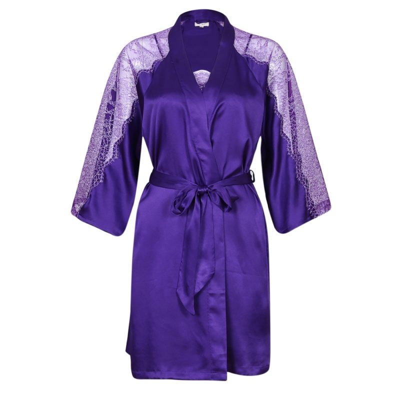Solid Satin Robe Set with Slip Dress