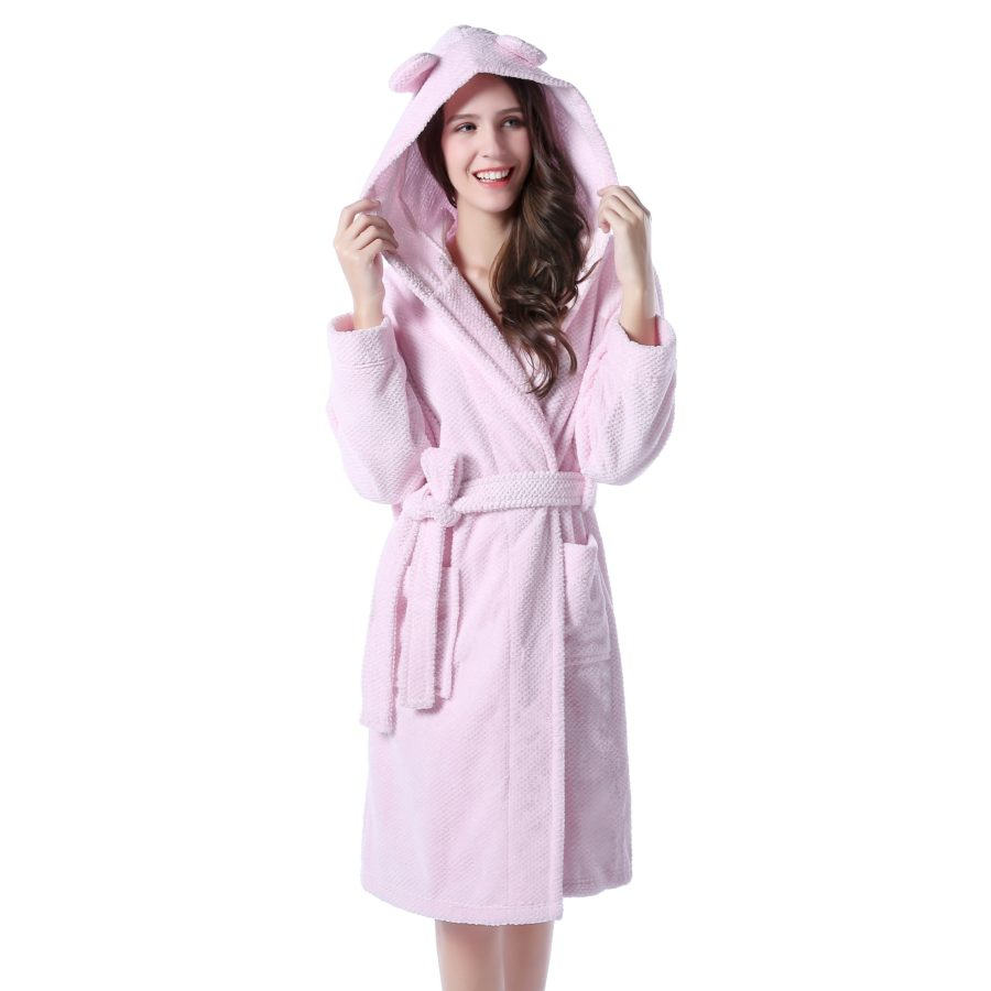 Soft and warm pink fleece bathrobe with hood richie house sciox Image collections